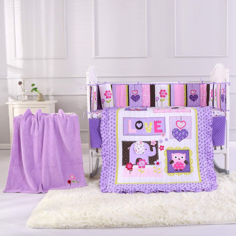 Amazon Com Wowelife Purple Elephant Nursery Set 100 Cotton