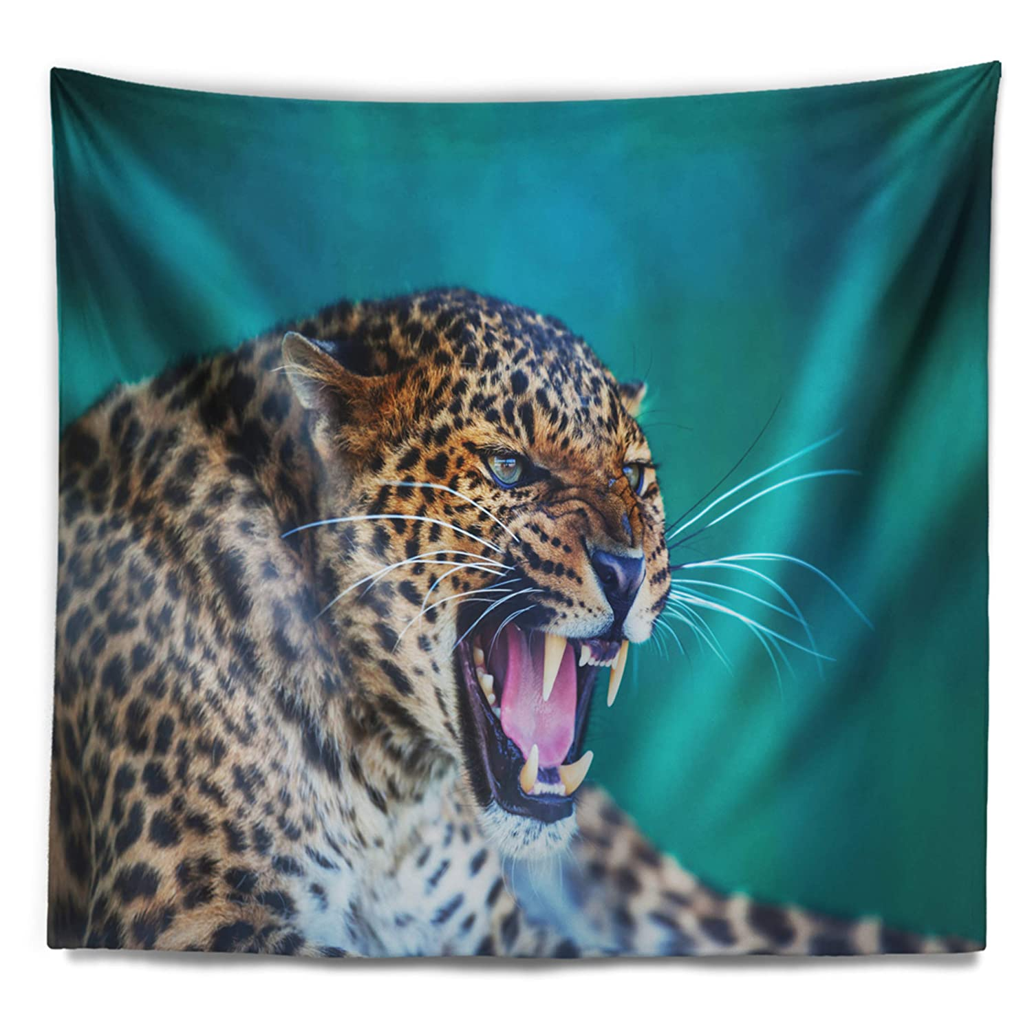 x 68 in Designart TAP12232-80-68  Wild Leopard Close Up View Abstract Blanket D/écor Art for Home and Office Wall Tapestry x Large 80 in Created On Lightweight Polyester Fabric