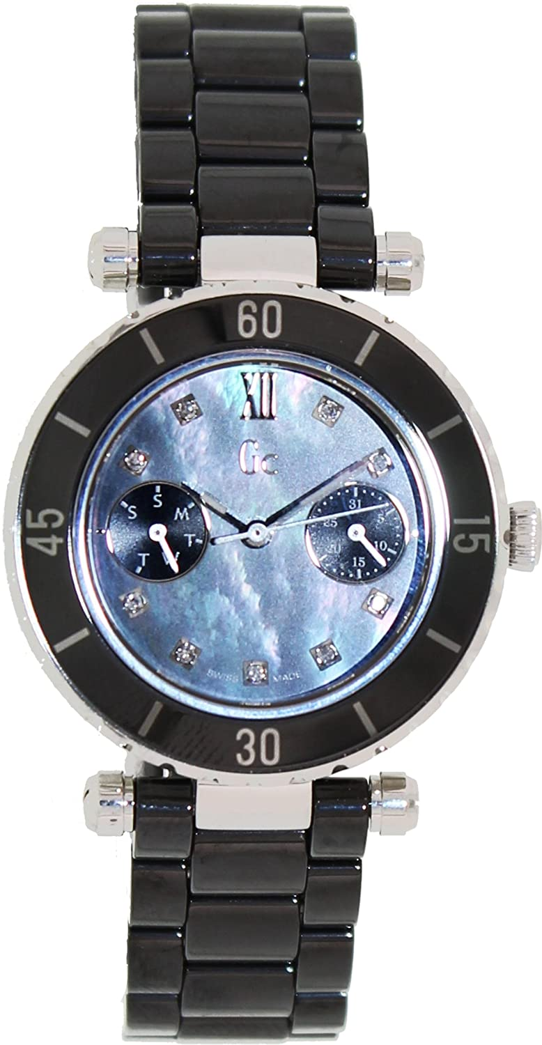 0c238c4f8 Amazon.com: GUESS Gc DIVER CHIC Diamond Dial Black Ceramic Timepiece: Guess  Collection: Watches