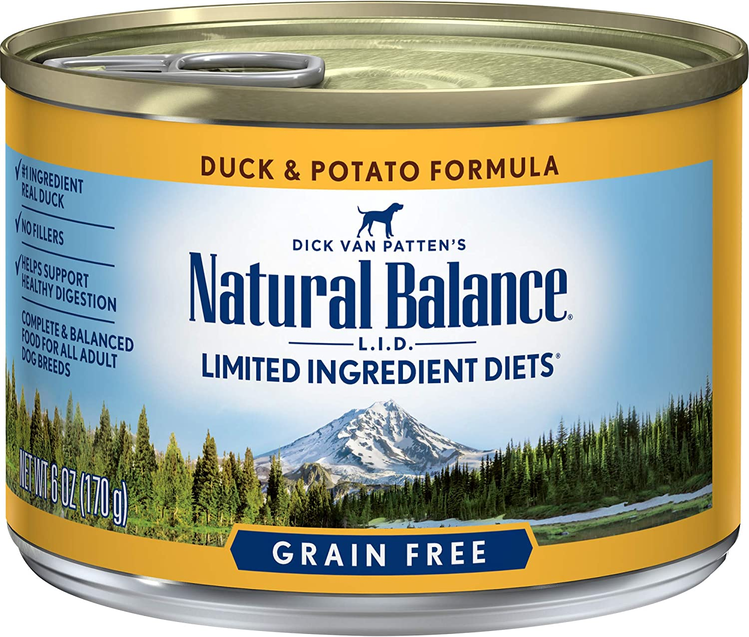 Natural Balance L.I.D. Limited Ingredient Diets Wet Dog Food, Duck & Potato Formula, 6 Ounce Can (Pack of 12) (Discontinued by Manufacturer)