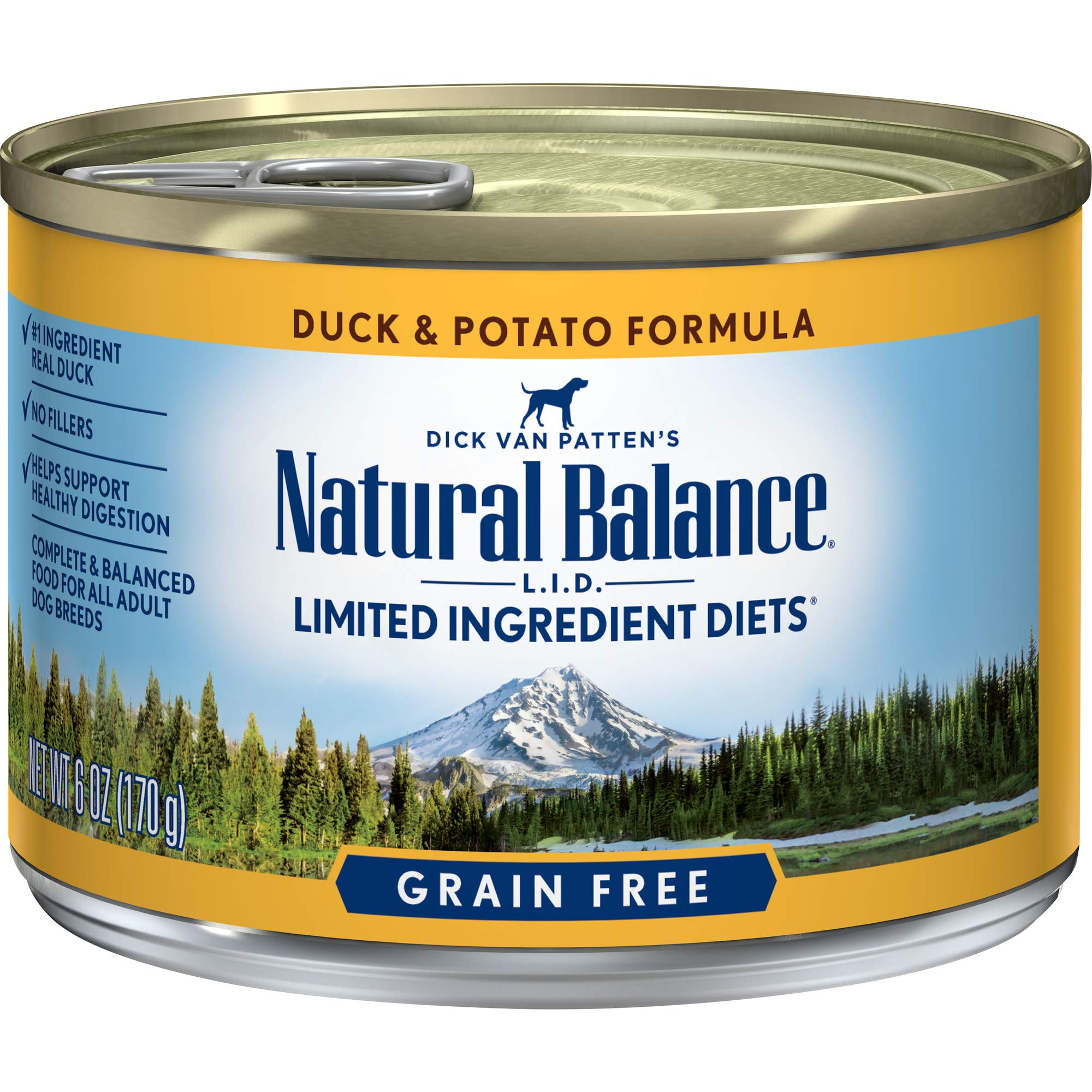 Natural Balance L.I.D. Limited Ingredient Diets Canned Wet Dog Food, Grain Free, Duck And Potato Formula, 6-Ounce (Pack Of 12) by Natural Balance