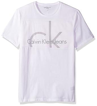 fbc883ee Calvin Klein Jeans Men's Short Sleeve Mesh Chest Panel Crew Neck T-Shirt |  Amazon.com