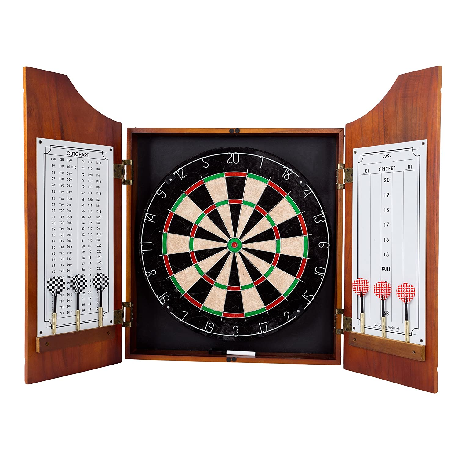 TG Beveled Wood Pro Style Board and Dart Cabinet, Black