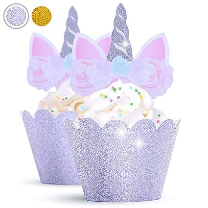 5-pcs Handmade Unicorn Cake Topper 24-pcs Cupcake Topper /& Wrapper SET