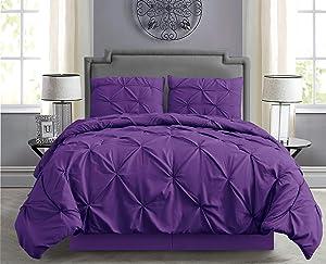 Empire Home Pintuck Hypoallergenic 8-Piece Bed in A Bag Comforter Set - Sheet Set Included!! (Purple, Queen)