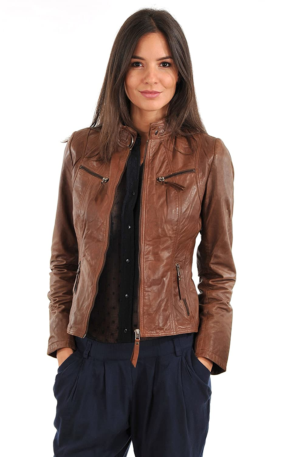 Brown Zoha Collection Women's Lambskin Leather Jacket Bomber Biker Motorcycles Jacket