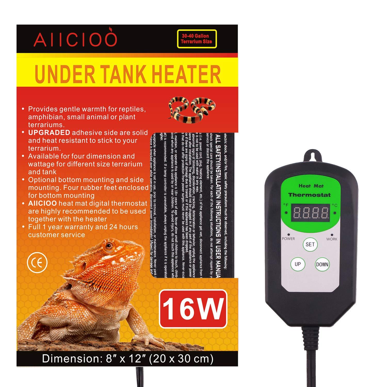 Aiicioo Under Tank Heater Thermostat - Hermit Crab Heater with Temperature Control 16 Watt Reptile Heating Pad for Reptiles Terrarium by Aiicioo