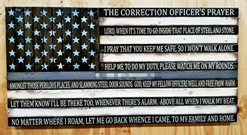 Wooden Rustic Style Thin Silver Line American Flag w Correction Officer's Prayer