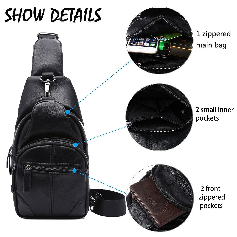 cad7d8d38c chic Sling Bag Leather Chest Bag Crossbody Shoulder Business Backpack  Outdoor Daypack