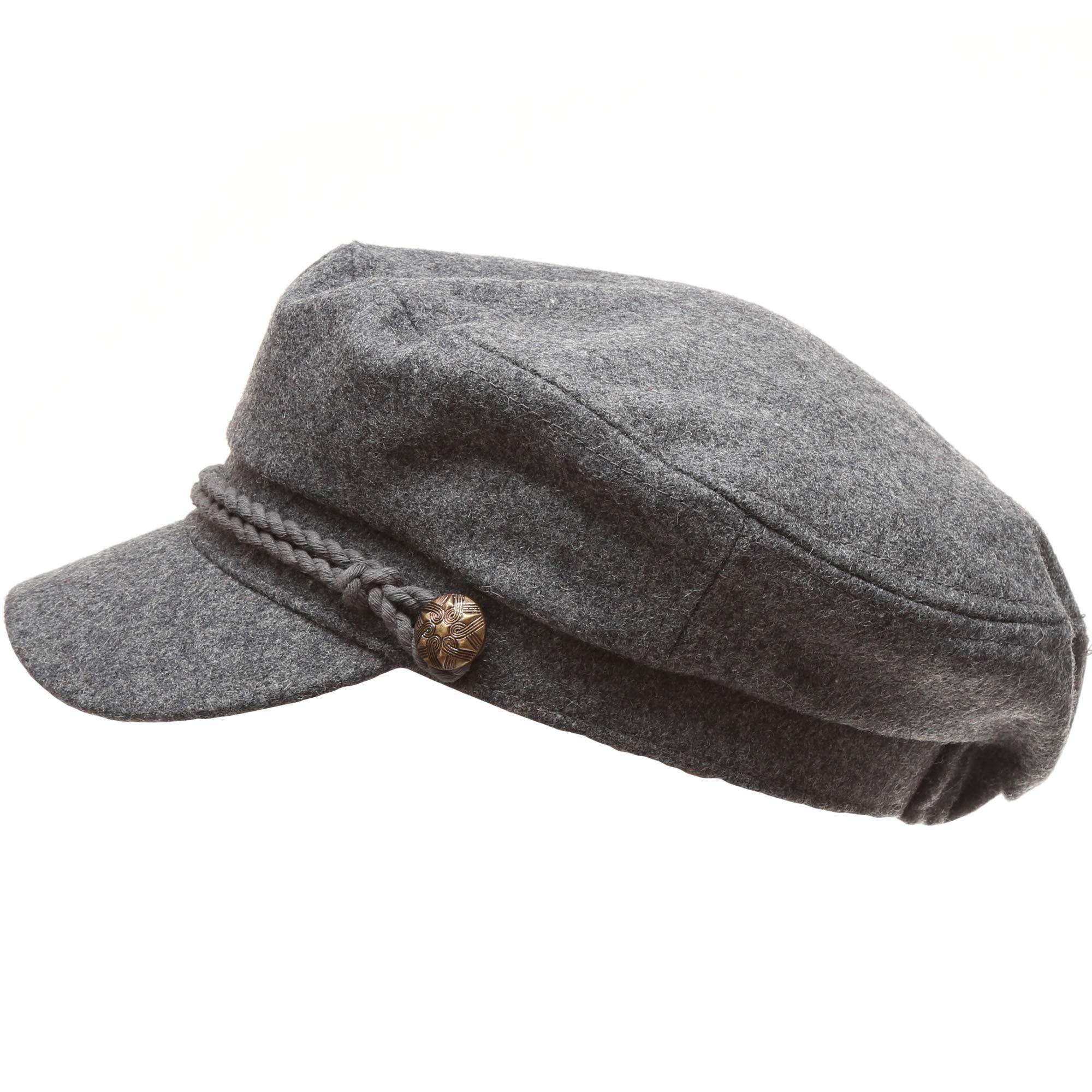 MIRMARU Women's Classic Mariner Style Greek Fisherman's Sailor Newsboy Hats with Comfort Elastic Back (3034 Charcoal)