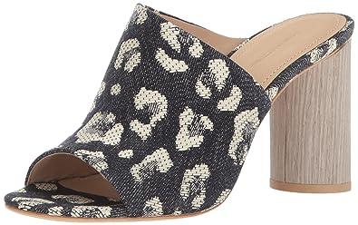 Pour La Victoire Womens Yasmin Fabric Peep Toe Casual Leopard Denim Size 8.5 8