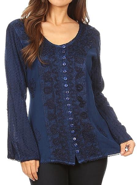 Sakkas 1679 - Salma Camisa de Manga Larga Blusa con Botones para Mujer Top Stonewashed y