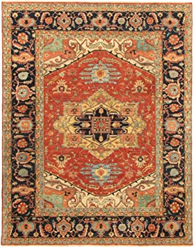 Amazon Com Pasargad Carpets Serapi Collection Hand Knotted Rust Navy Lamb S Wool Area Rug 8 X 10 Furniture Decor
