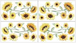Sweet Jojo Designs Sunflower Floral Peel and Stick Wall Decal Stickers Art Nursery Decor - Set of 4 Sheets - Yellow, Green and White Boho Farmhouse Watercolor Flower