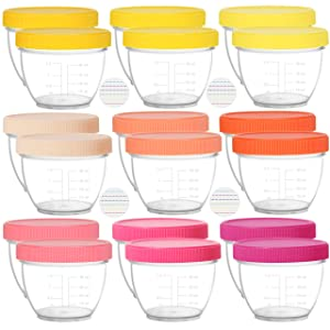 Youngever 18 Sets Baby Food Storage, 2 Ounce Baby Food Containers with Lids, 9 Pink Colors, with Lids Labels