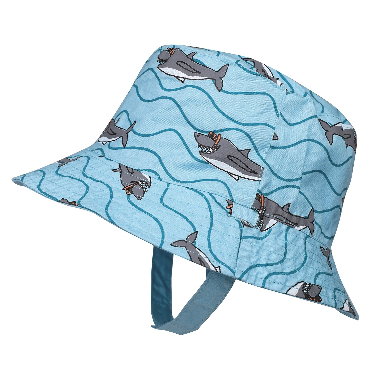 b7d2c572 Amazon.com: Baby/Toddler/Kids Sun Hat Reversible UV Protection Cotton Bucket  Hat with Chin Strap Fish Prints: Clothing