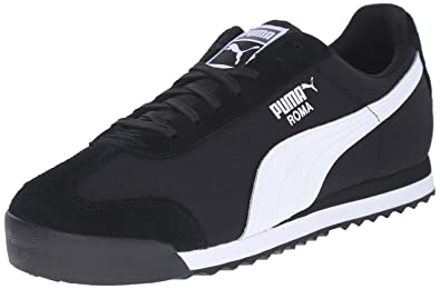 PUMA Men's Roma Ripstop and Suede Fashion Sneakers, Black/Black/White, 10