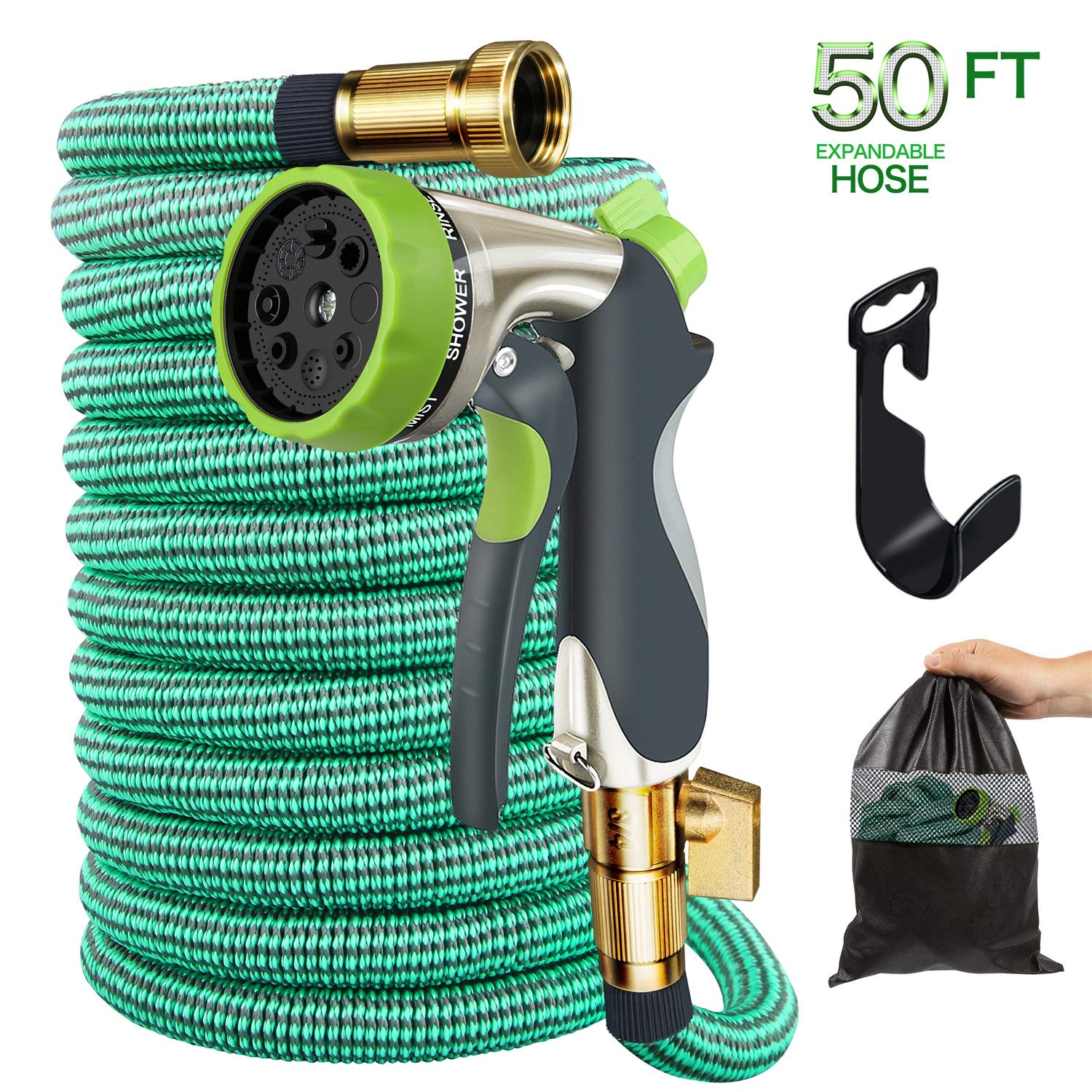 Begleri Garden Hose, 50ft Expandable Gardening Water Hoses Flexible Non-Kink Expanding Hose with Metal Spray Nozzle