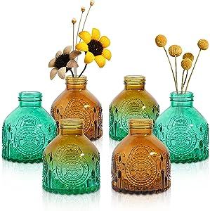 ComSaf Glass Bud Vases Set of 6, Small Vintage Flower Bottle, Petite Glass Flower Vase for Floral Arrangements, Decorative Centerpiece for Home Wedding Party Event Office, Modern Decor, Brown Green