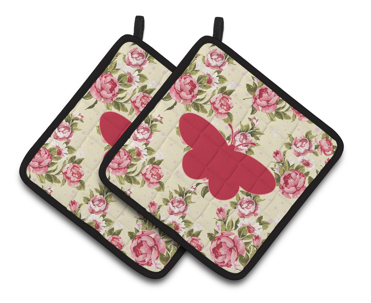 Multicolor Carolines Treasures Butterfly Shabby Chic Yellow Roses Pair of Pot Holders BB1051-RS-YW-PTHD 7.5HX7.5W