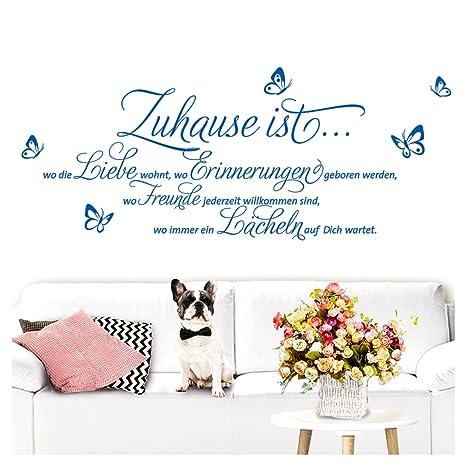 Grandora Wandtattoo Sprüche Und Zitate Zuhause Ist I Azurblau Bxh 58 X 25 Cm I Flur Wohnzimmer Modern Spruch Aufkleber Selbstklebend Wandsticker