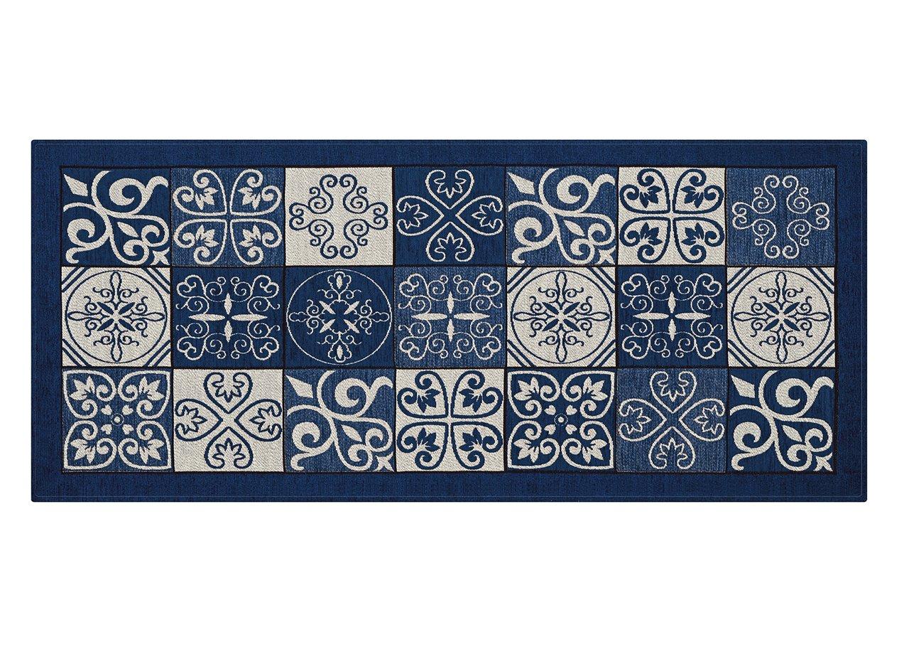 Tappeto Con Retro Antiscivolo Da Cucina Disegno Maiolica By Suardi 55x80 Verde COINGROSTEX