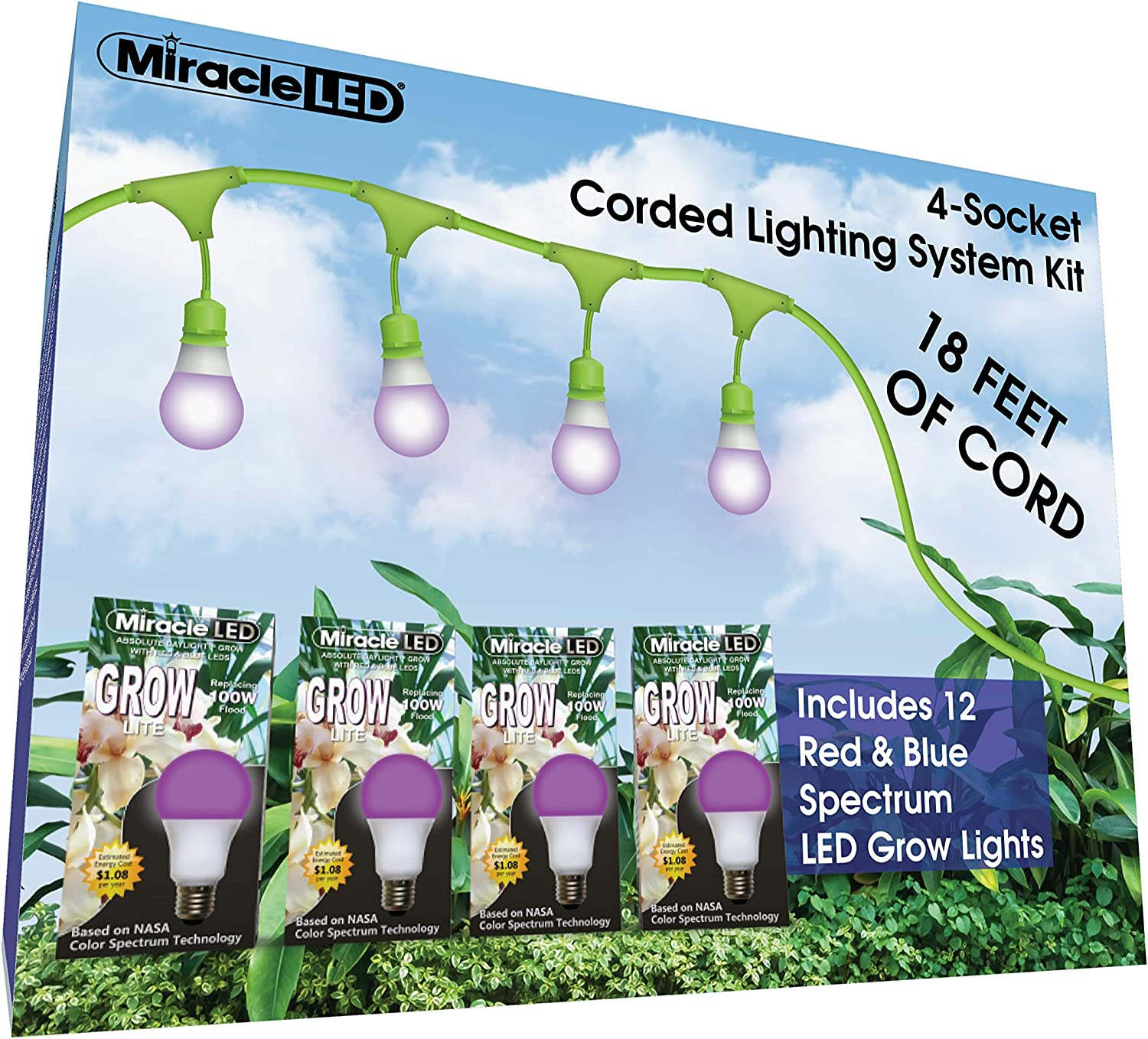 Miracle LED 602848 18ft Corded System Kit with 12 Red & Blue Spectrum Grow Lights