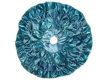 18 miniature ruffle christmas tree skirt for mini tabletop christmas trees turquoise - Teal Christmas Tree Skirt