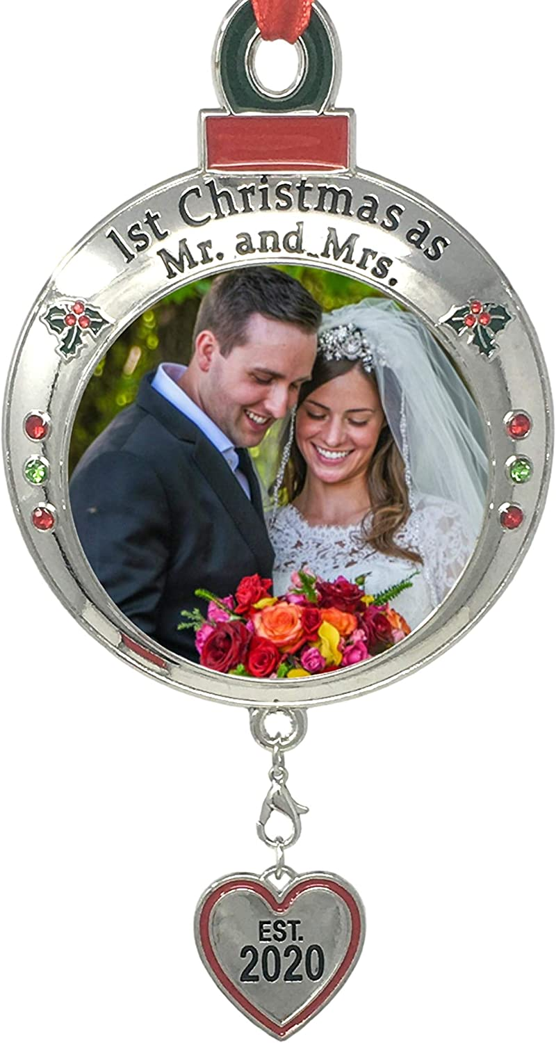 BANBERRY DESIGNS Wedding Ornament - 1st Christmas as Mr. and Mrs. EST 2020 - Red and Green Picture Ornament Shaped Like an Ornament Bulb - Our First Christmas Marriage Husband Wife Married