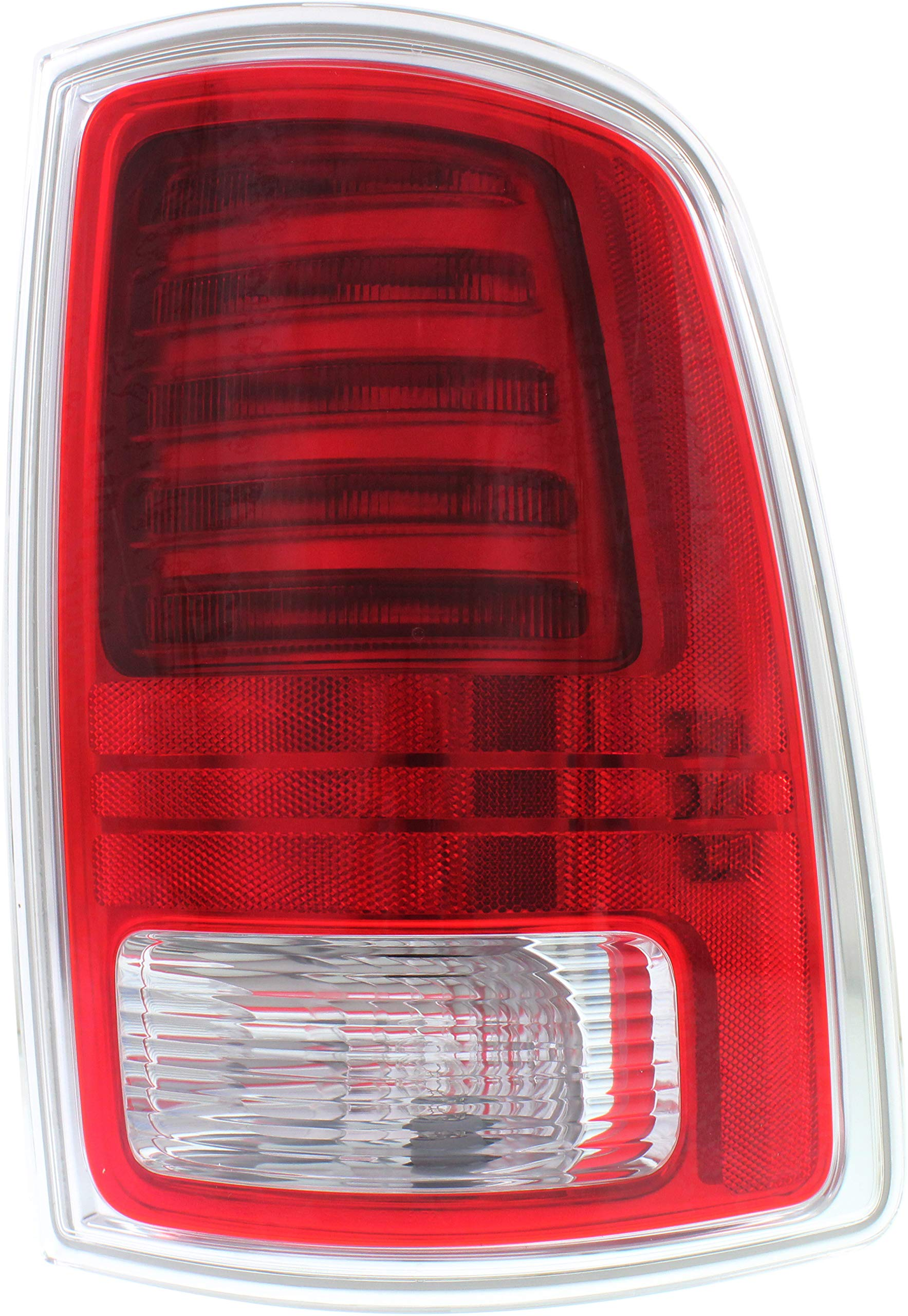 Tail Light Compatible with DODGE RAM FULL SIZE P/U 2013-2018 RH Assembly Premium Type Chrome Interior Clear/Red Lens All Cab Types
