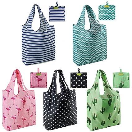 039f78443fb7 Amazon.com: Foldable Reusable Grocery Bags set Cute Designs Folding ...