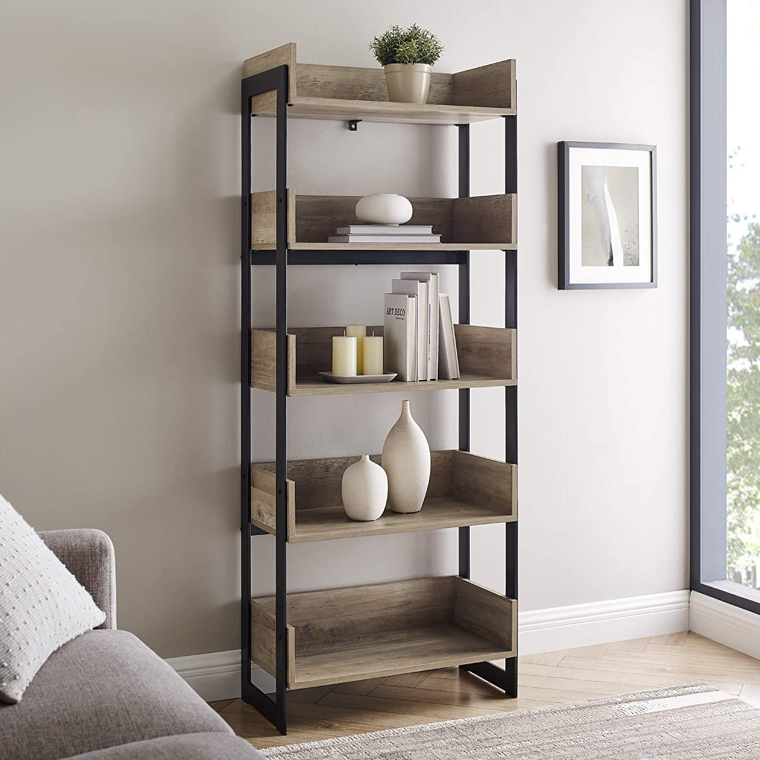 Walker Edison Addison Urban Industrial Metal and Wood 5-Shelf Bookcase, 64 Inch, Grey Wash