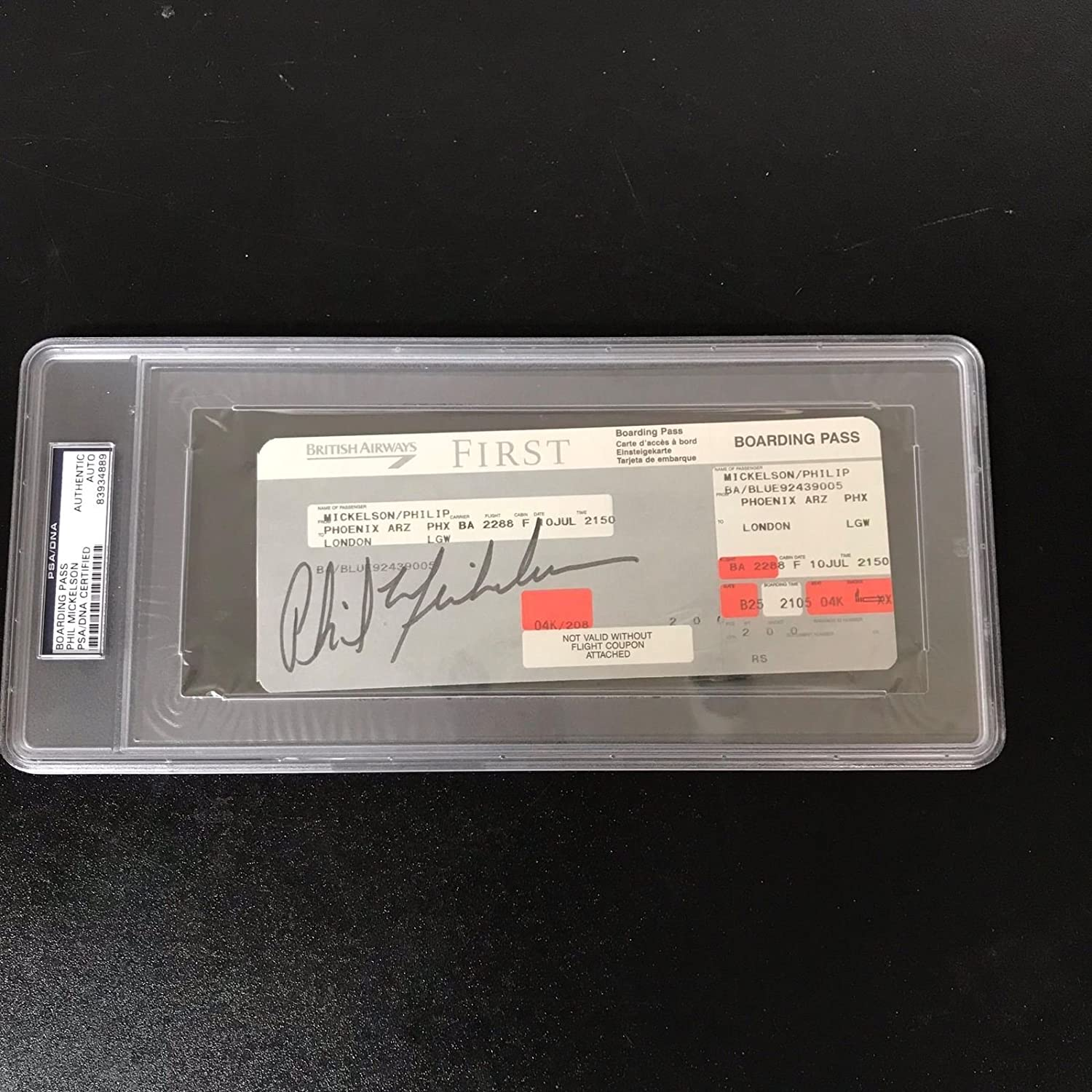Rare Phil Mickelson Signed First Class Airline Ticket ...