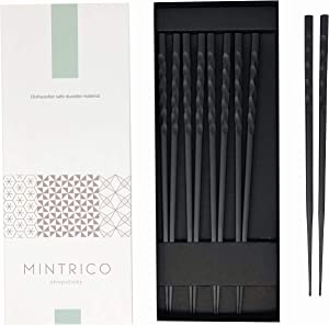 Mintrico Reusable Chopsticks Luxury Japanese Style 5 Pair Set Dishwasher Safe (Wave)