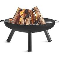 VonHaus Fire Pit Bowl with 60cm Diameter & Portable Carry Handles – Outdoor Black Steel Garden Patio Heater/Burner for Wood & Charcoal