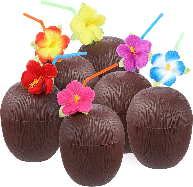 12 Piezas de Tazas en Forma de Coco de Plástico Luau Hawaiana con Pajitas de Doblar de Flor Hibiscus para Materiales de FieDILISEN Temática de Playa