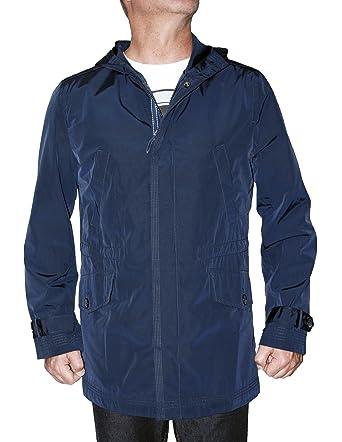 Tasso Elba Men`s Coat, Navy Zip Front Hooded Rain Jacket (M) at ...