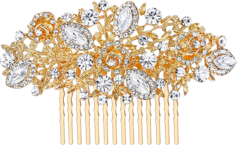Ever Faith Femme Cristal Autrichien Mariage Floral Fleur Feuille Peigne Clair