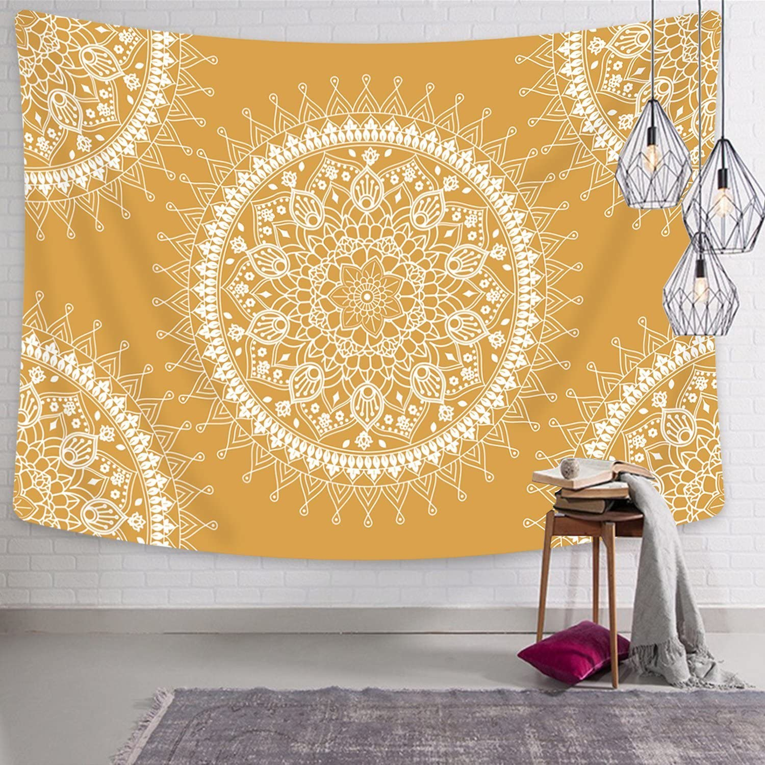 """Jiamingyang Flower Elephant Print Wall Hanging Tapestry Bohemian Room Decor Bedding Rug (Large/80"""" x 60"""", Yellow)"""