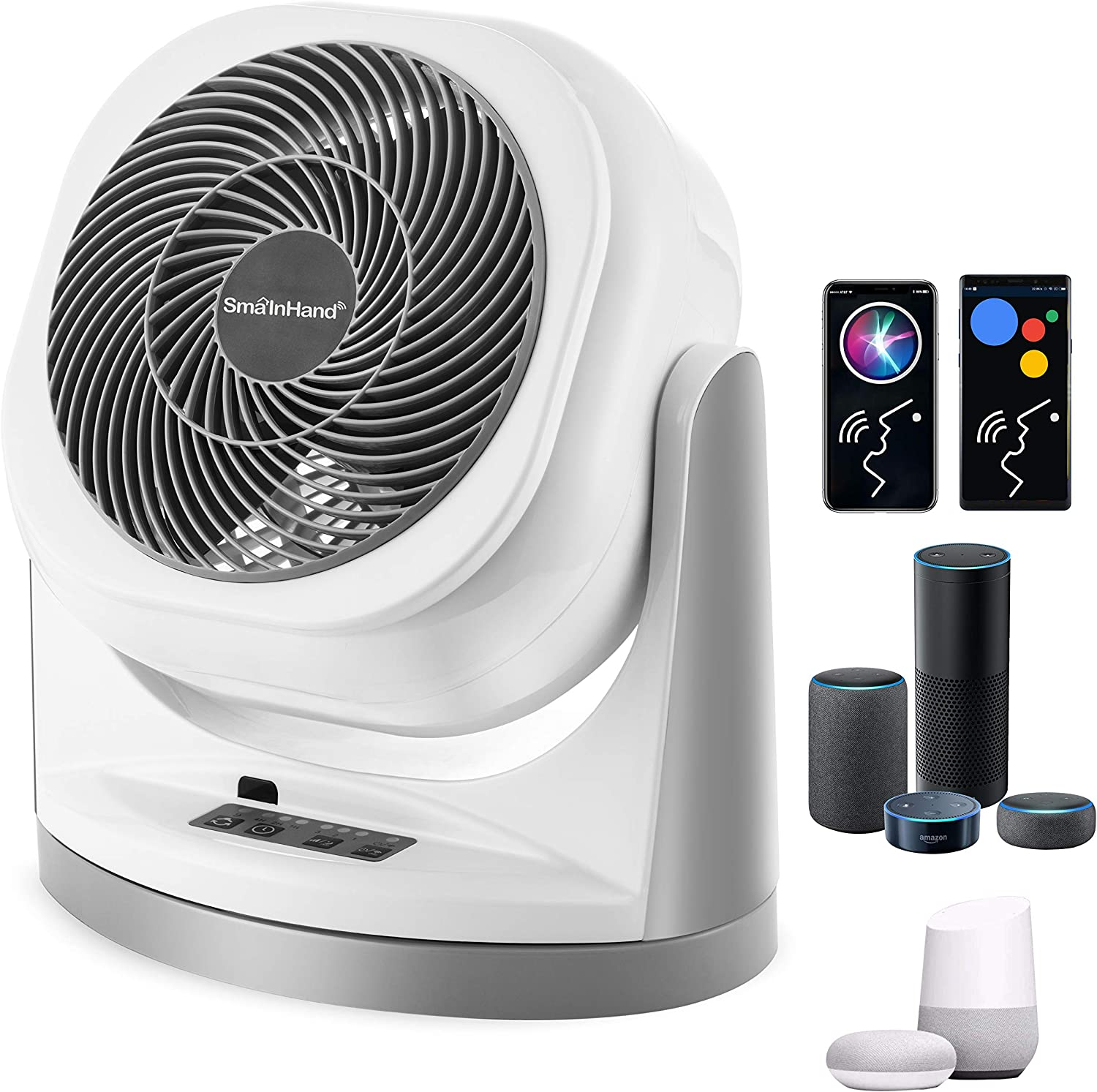 Fan, Phone Voice Control Oscillating Fan, Alexa Google Remote Control Floor Fan, WiFi Smart Bed Fans Oscillating, SmaInHand Stand Up Fans For Home, Air Circulator House Standing Fan, Box Desk Fans For Bedroom Cooling, Room Quiet Small Electric High Velocity Desktop Rotating Table AC Fan