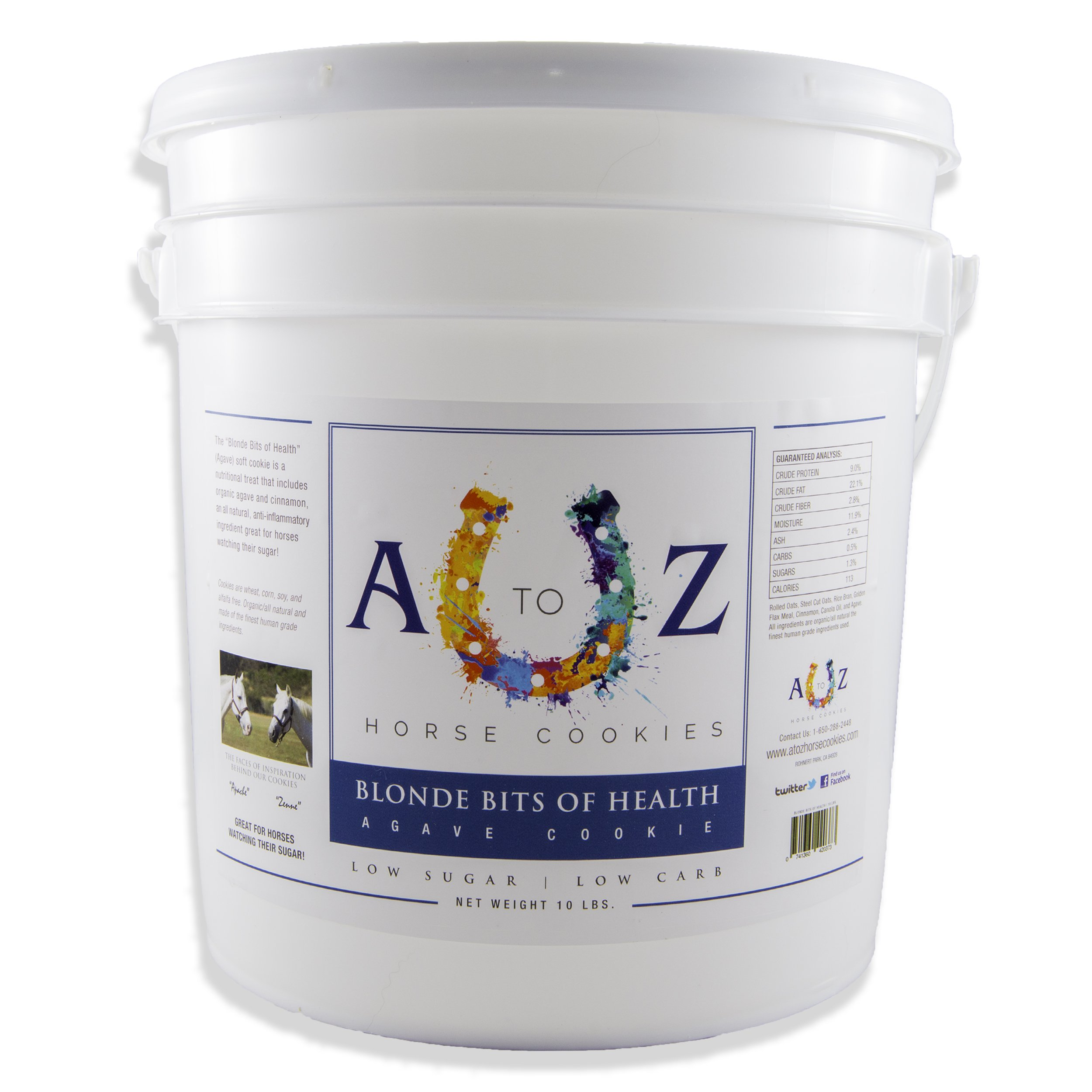 Horse Cookie Treat: Blond Bits Of Health Flavor by A - Z Horse Cookies, Low Carb Low Sugar Softer Treats, Organic, Great For All Horses And Excellent For Those With Metabolic Conditions, 10 lbs Pail
