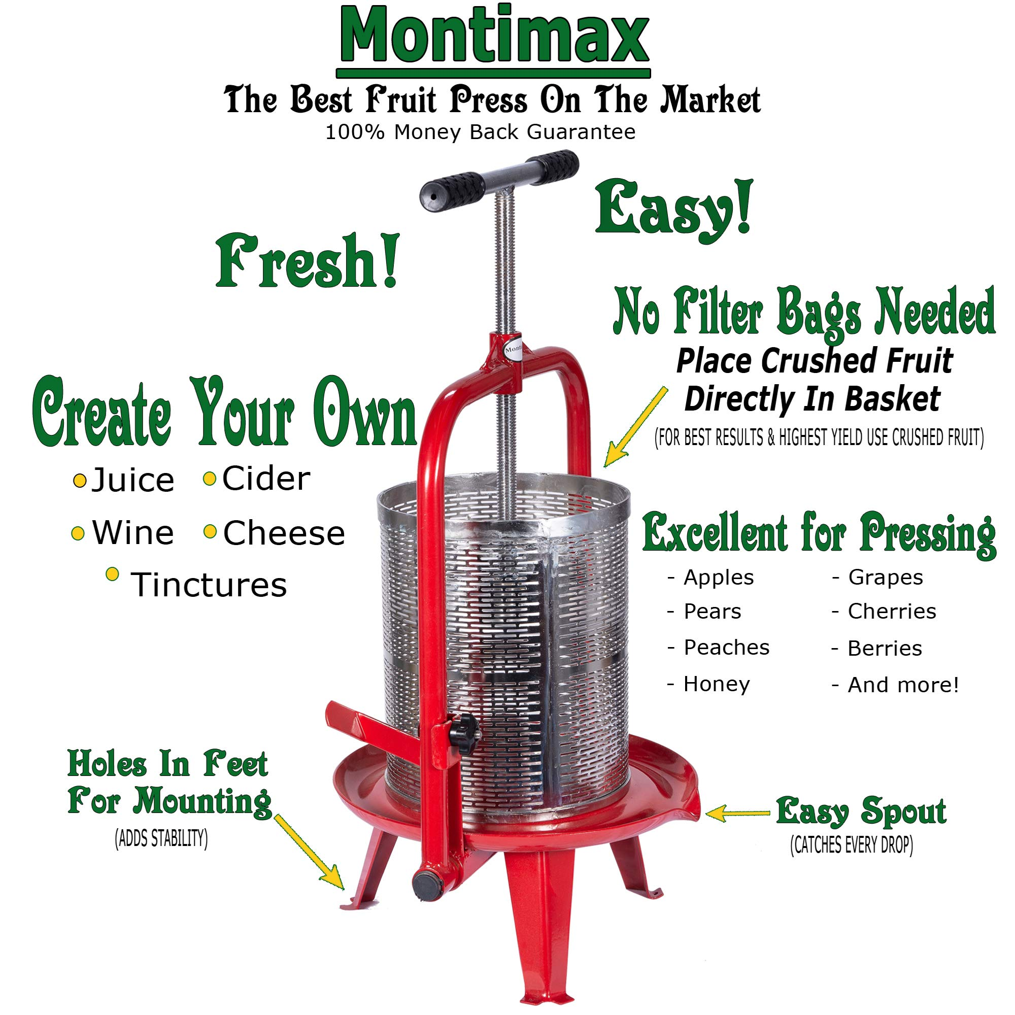 14 Liter (3.75 Gallon) Fruit Press - New Larger Stainless Pressing Plate - Cider, Wine, Grape, Apple Press, For Apple Cider, Wine and Juice Making, Stainless Steel, Choose Size by Montimax by Montimax By Green Max Products (Image #2)