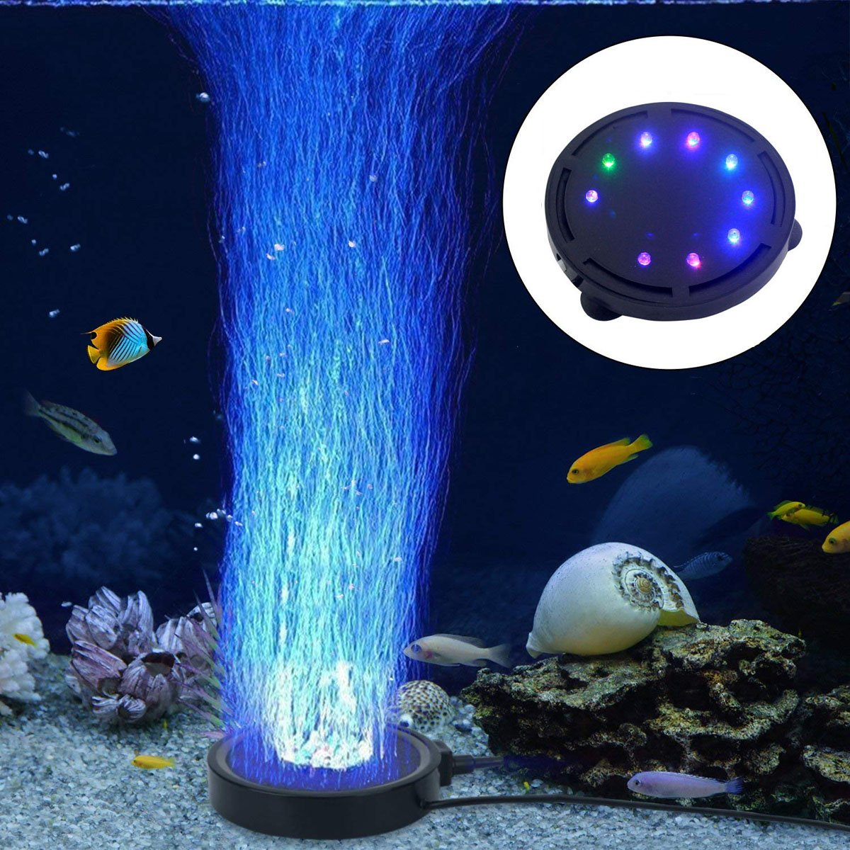 LONDAFISH Aquarium Bubble Light LED Aquarium Fish Tank Air Stone Light Air Pump Bubble Stone Lamp