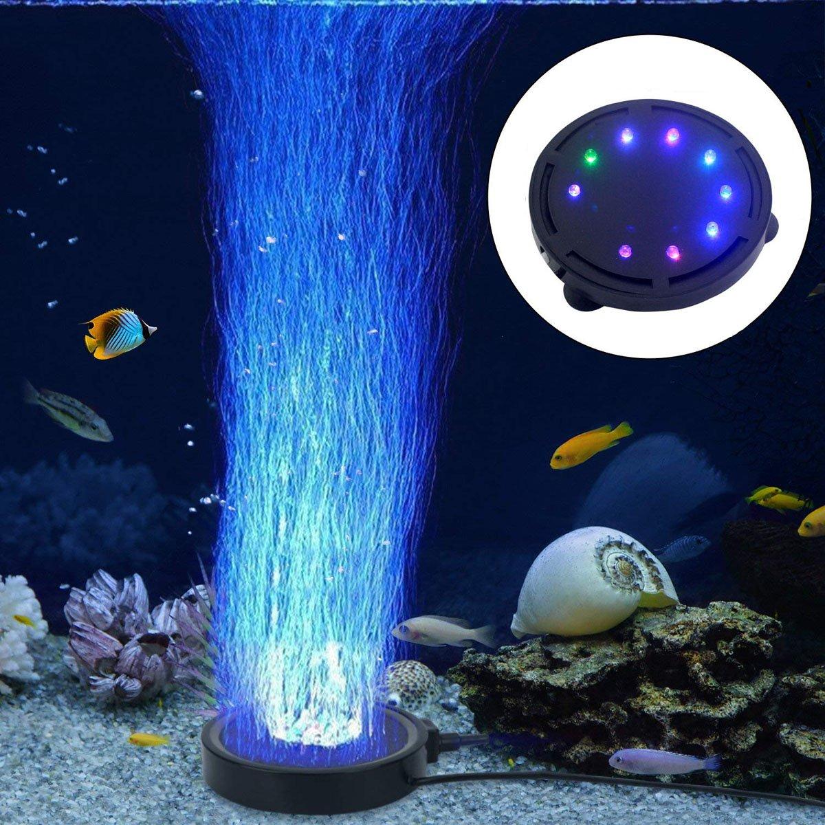 LONDAFISH Aquarium Bubble Light Aquarium Air Stone LED Light Air Pump Bubble Stone Lamp
