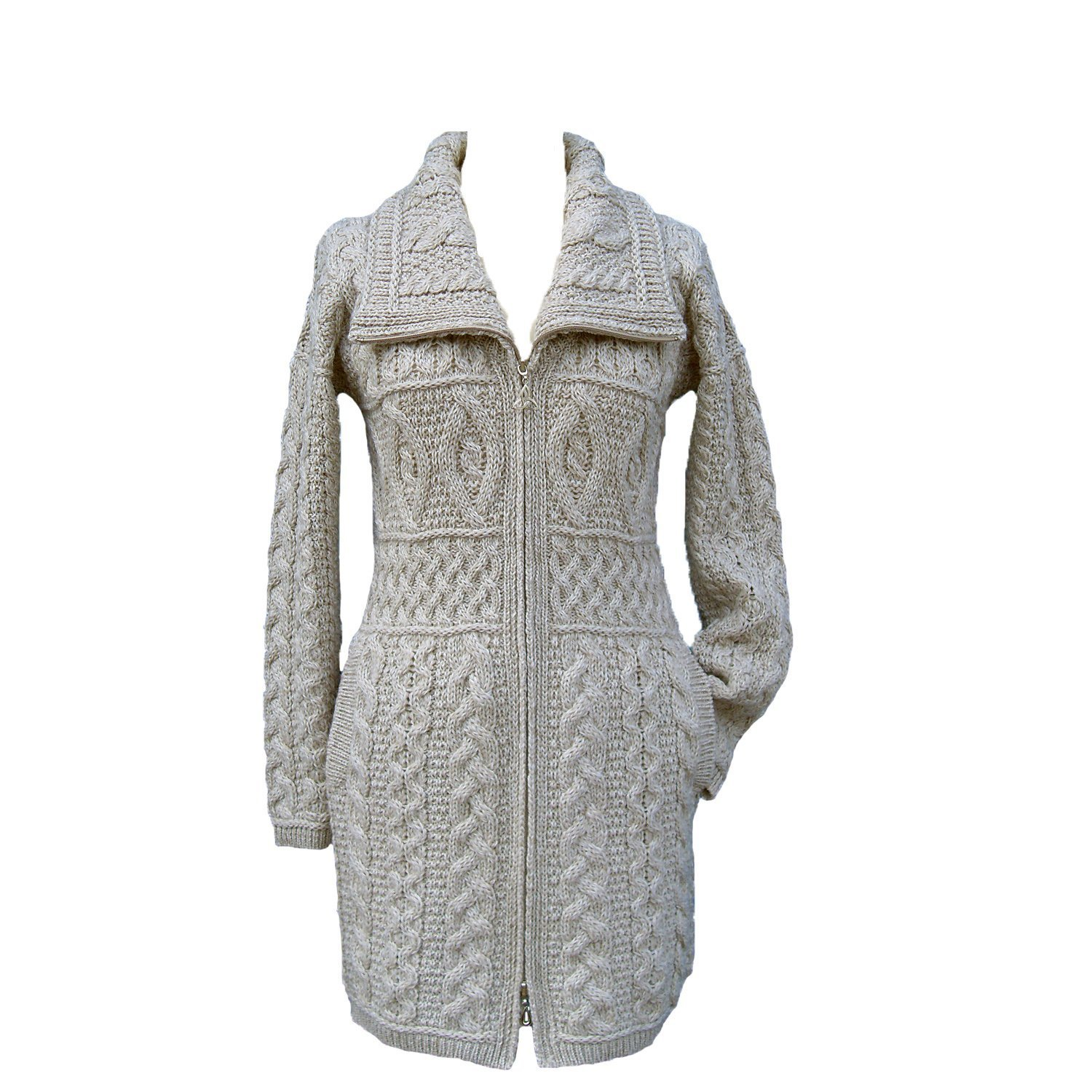 Sothingoodly Fashion;cool Wool Double Collar Aran Knit Coat by West End Knitwear ParsnipX-Small