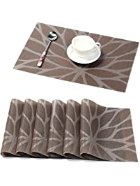 Superior HEBE Placemats For Dining Table Set Of 6 Durable Woven Vinyl Kitchen Table  Mats Washable Heat