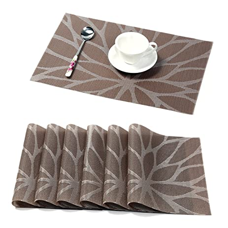 HEBE Placemats For Dining Table Set Of 6 Durable Woven Vinyl Kitchen Table  Mats Washable Heat