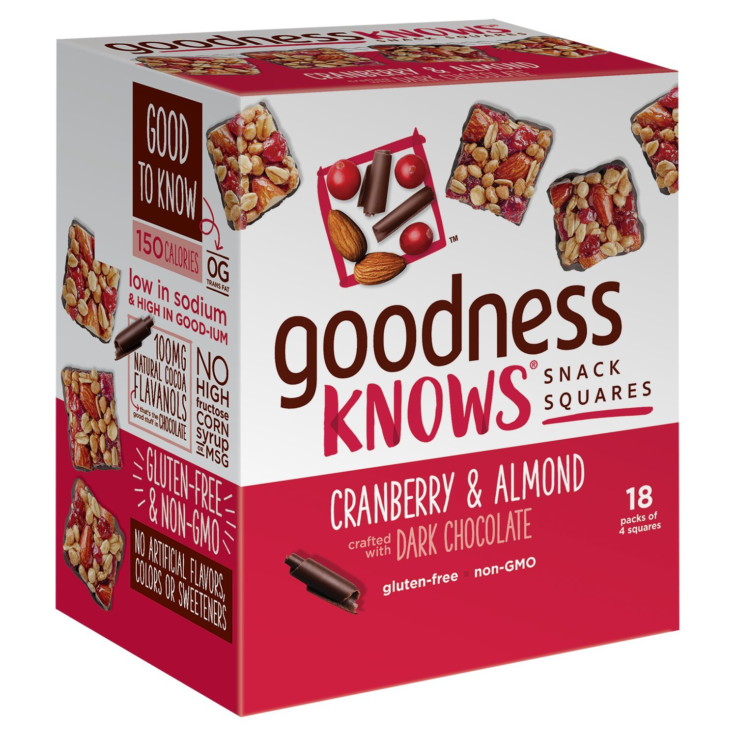 Goodness Knows Cranberry, Almond & Dark Chocolate Gluten Free Snack Square Bars 18 Count Box by Goodnessknows
