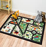 Street Map Black City Kids Play Rug ,Educational Rug ,Boys Rugs Girls Rugs ,Activity Paly Area Rugs (20 inch x 32 inch scatter size)