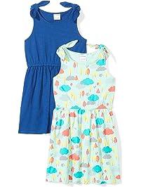 d9c37ebf544 Spotted Zebra Girls  2-Pack Knit Sleeveless Knot Shoulder Dresses